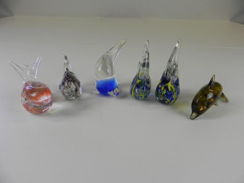 vintage vissen glasfiguren niet gesigneerd/gemerkt