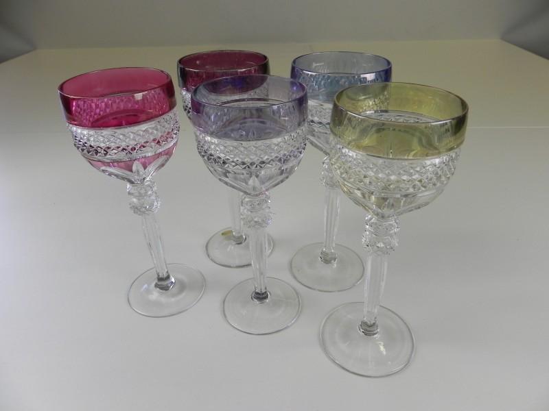 5 vintage kristal wijnglazen