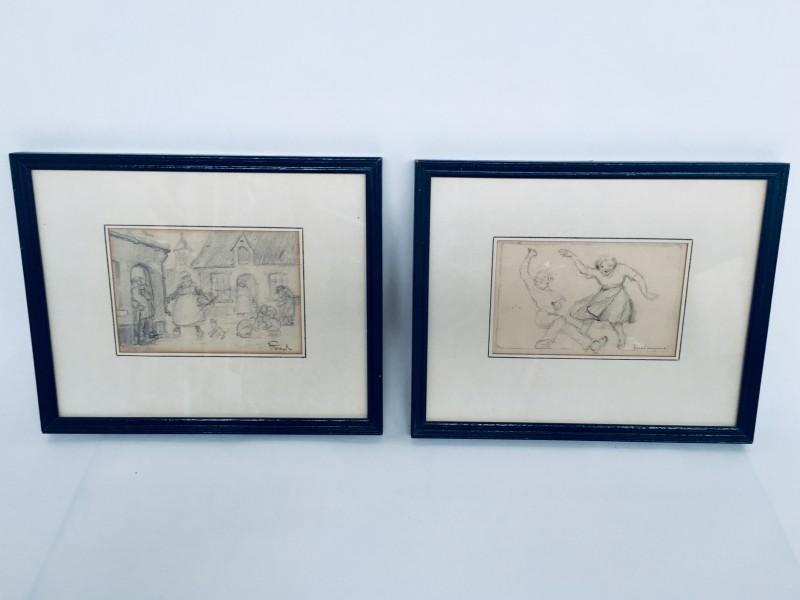 2 Potloodtekeningen Van Alfred Bogaerts