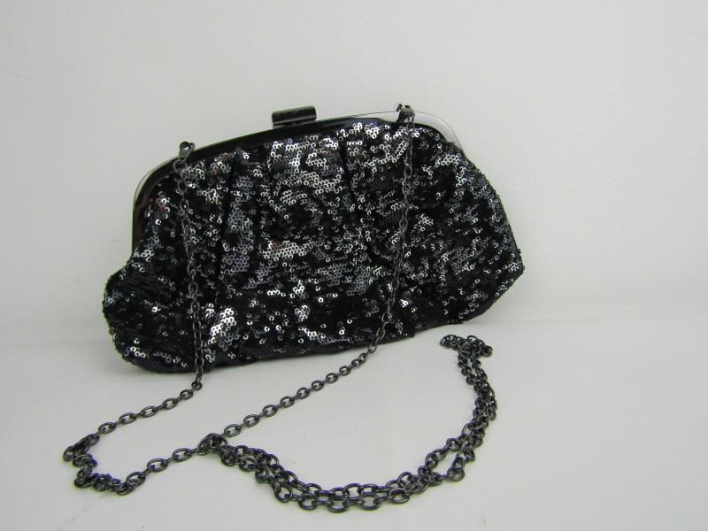 Handtasje: Bijou Brigitte, Zwart en Zilveren pailletten