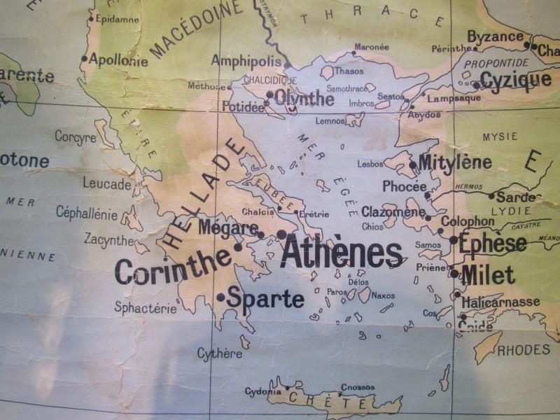 "Oude schoolkaart "" Le monde Grec """
