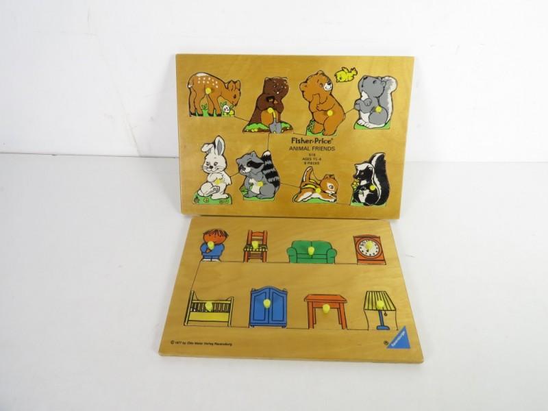2 vintage houten puzzels