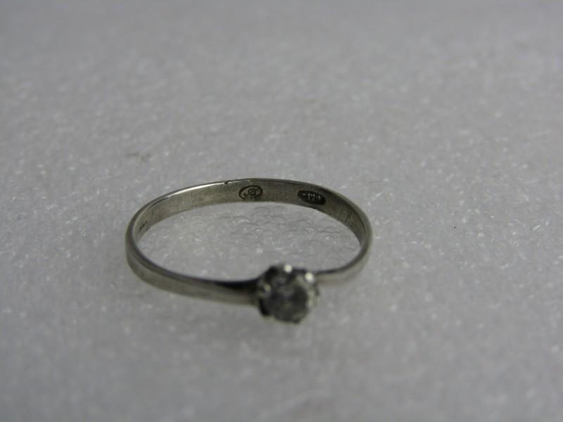 Oude Solitair Ring met Steentje, Zilver