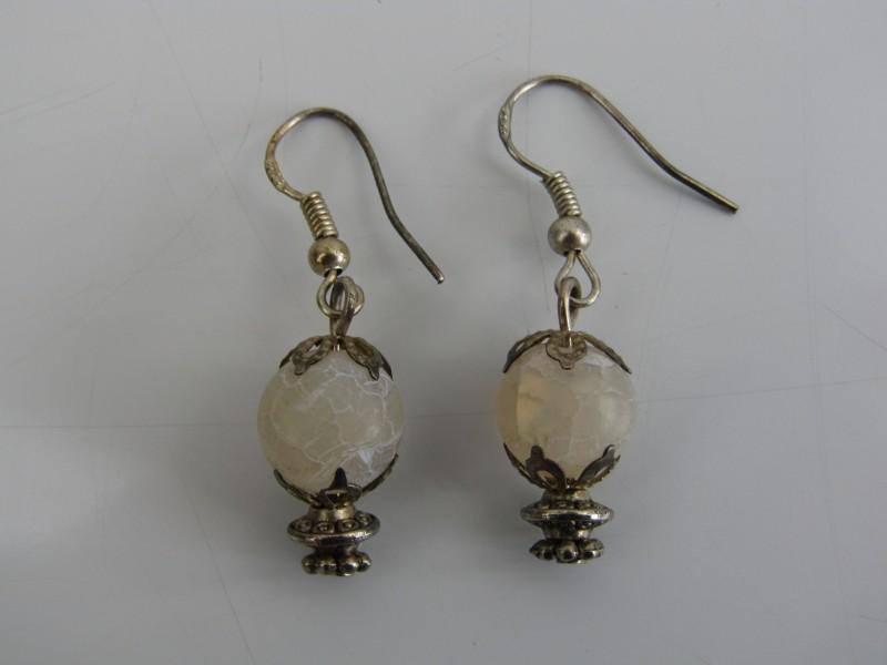 2 Zilveren 925 Oorbellen, Kralen