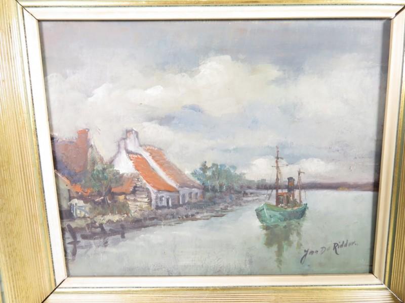 Schilderij op paneel gemerkt Jan De Ridder