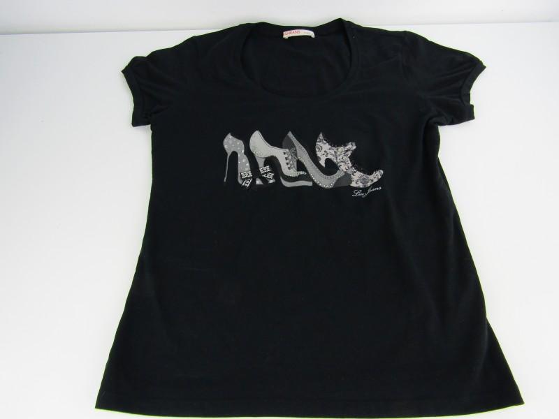 Zwarte T-shirt: Liu Jeans By Liu Jo, Maat: L