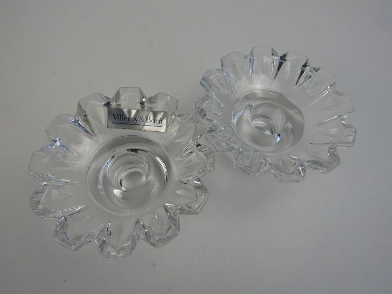 2 Kristallen Kaarsenhouders: Villeroy & Boch