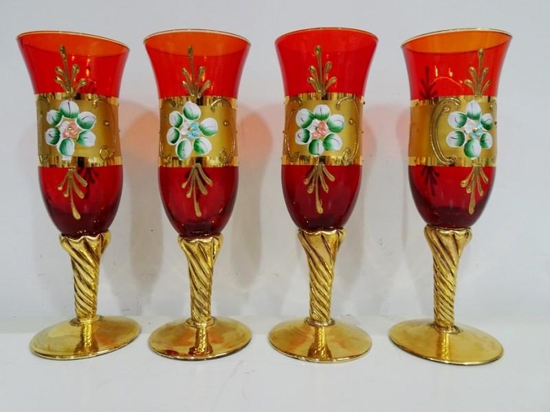 4 vintage rode Murano glazen