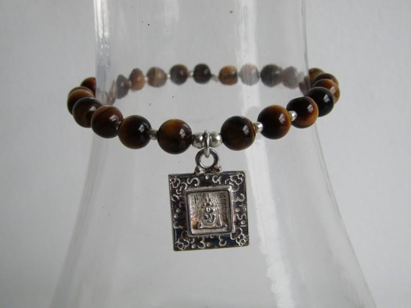 Gouden Tijgeroog Armband met Boeddha Hangertje