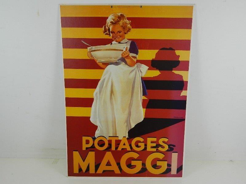 """Gelakt Reclamebord """" Maggi Soepen"""" """"Potages Maggi"""