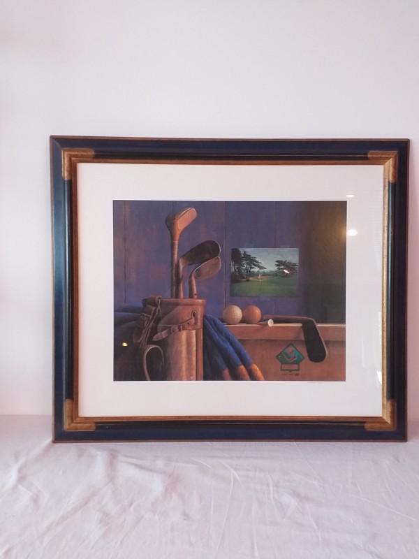Schilderij van golf tafereel van de schilder J. Landa