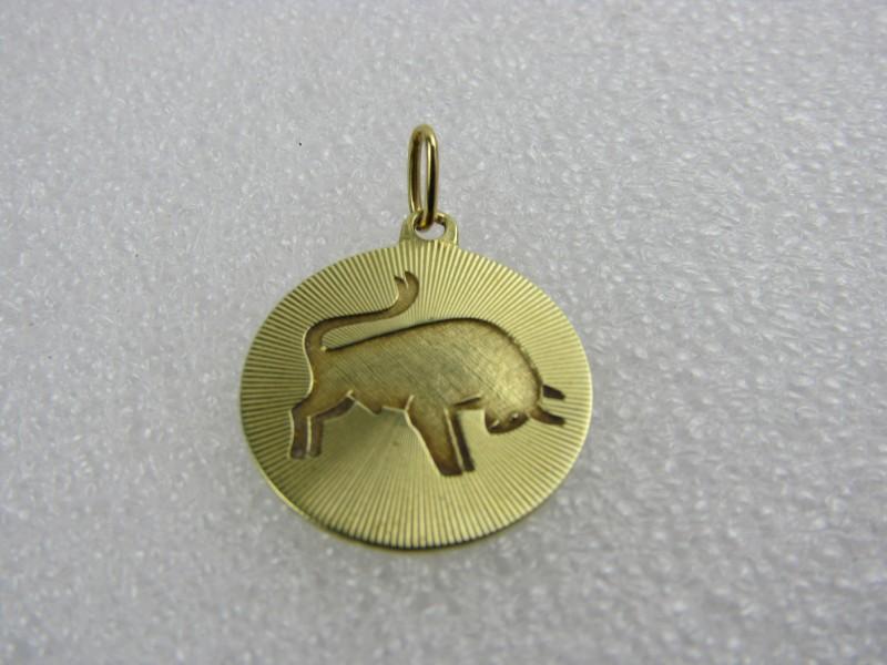 Gouden 585 / 14 Karaat Hangertje: Stier