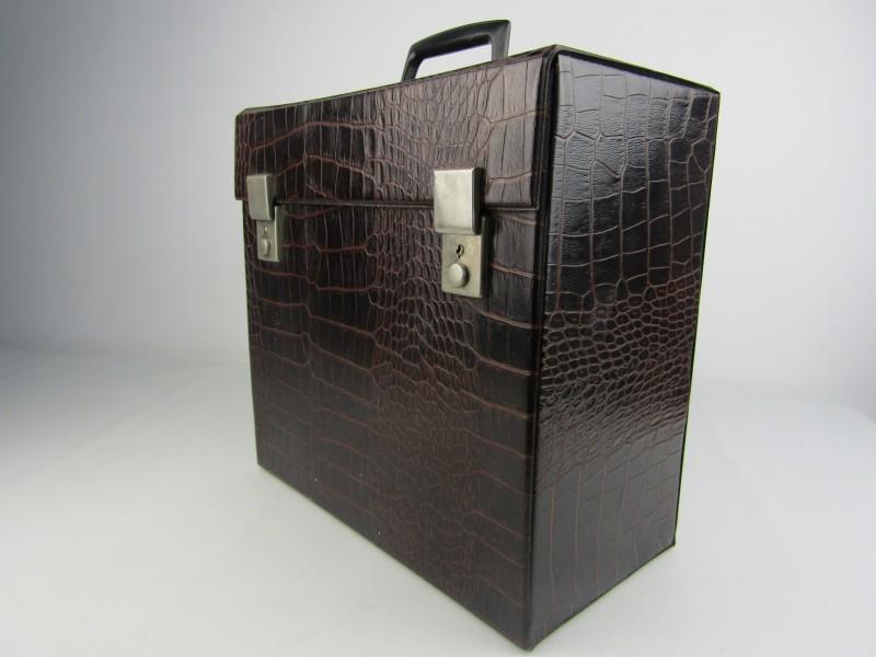 Retro LP Koffer, Bruine Croco