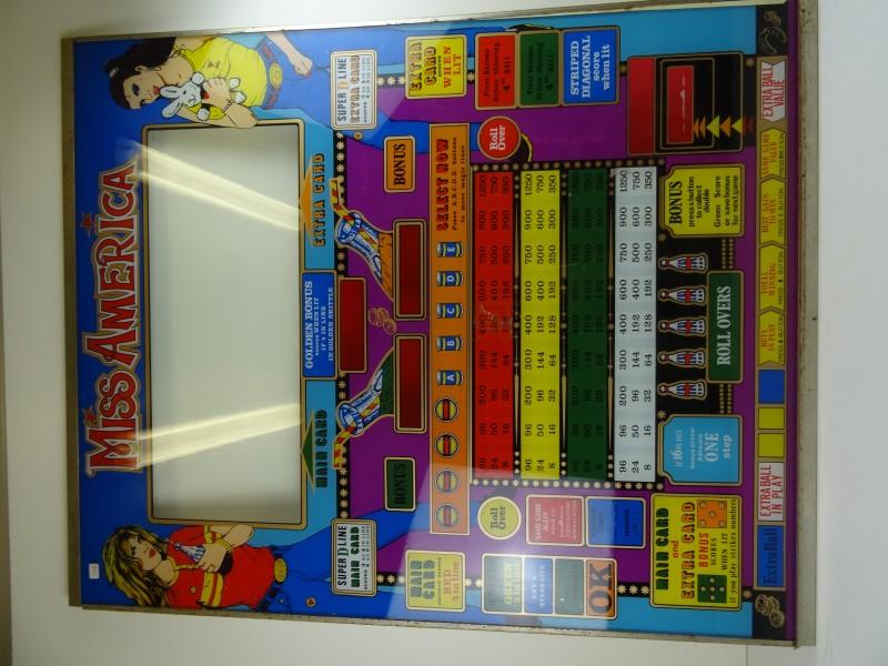 """glasplaat bingokast  """"Miss America"""" jaren '70 '80"""