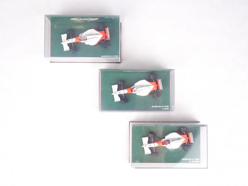 3 McLaren miniatuur F1 racewagens McLaren collection.