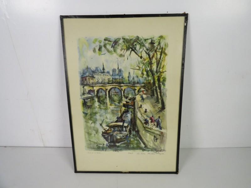 Prent - zicht op de Seine en Notre Dame