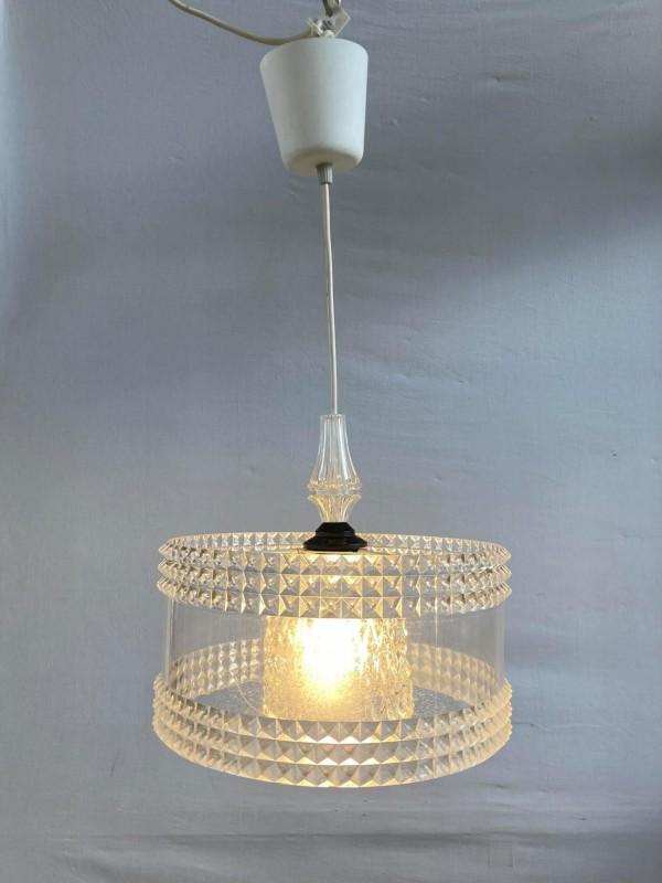 Hanglamp met kap uit glas en plastic