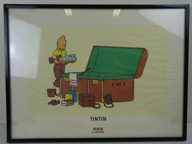 Hergé: serigrafie: Tintin et la malle ( le lotus bleu) 1995