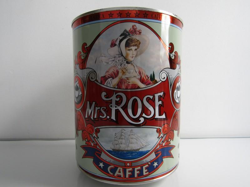 Grote Blikkendoos: Mrs. Rose Koffie, Vintage Stijl