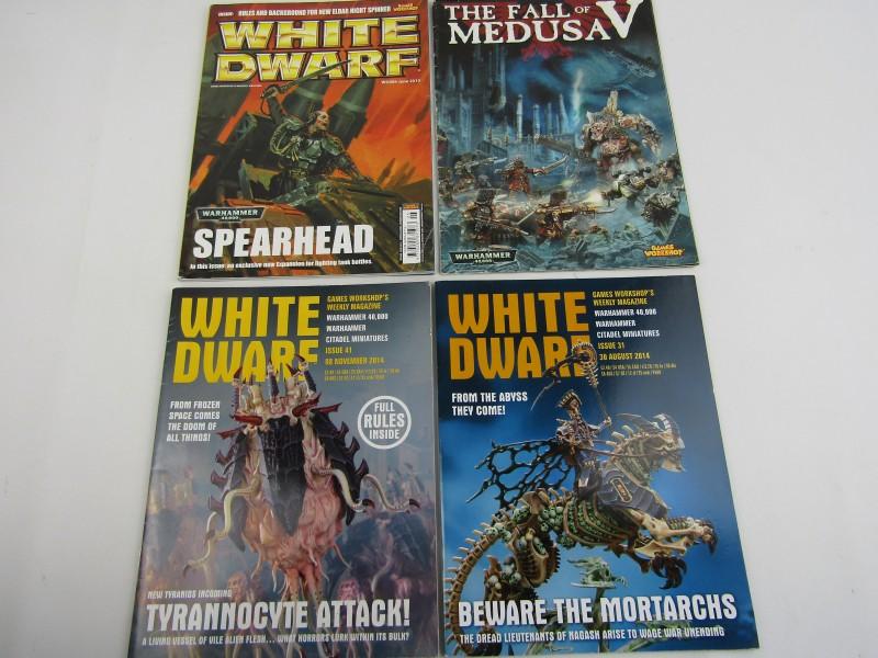 4 x Magazines: White Dwarf, Warhammer 40,000 + The Fall of Medusav