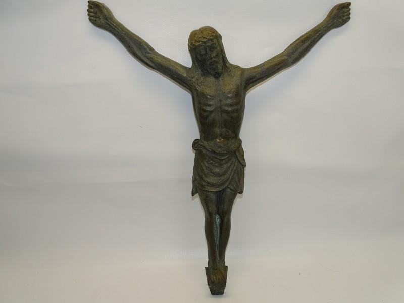 Gesigneerd Christus Beeld in Messing: F. Horga