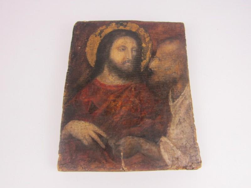 Antiek Icoon op Hout, Jezus Christus, Judas met  de Penning