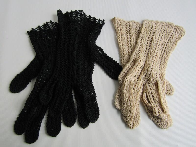 2 Paar Gehaakte Retro Handschoenen: Zwart en Beige