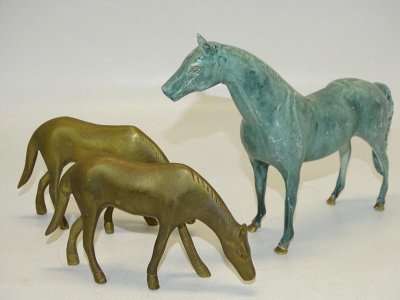 3 Paarden in Geelkoper / Messing