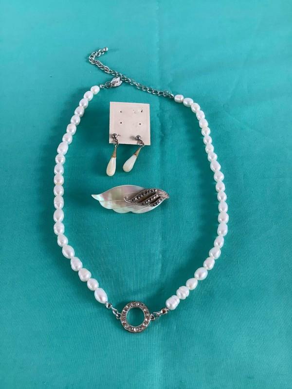 Lot juwelen: Lbvyr halsketing, oorbellen en broche