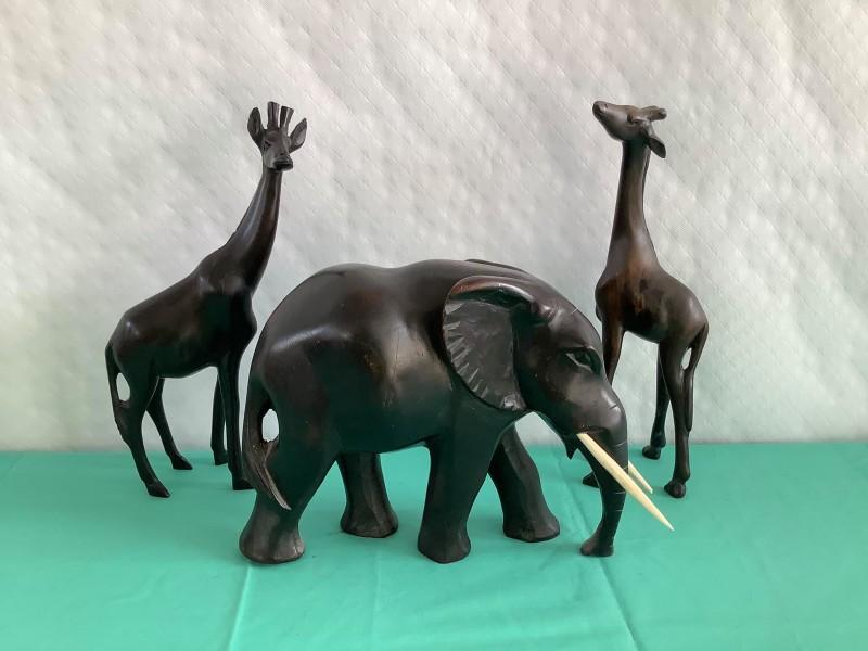 2 Afrikaanse giraffen en 1 olifant