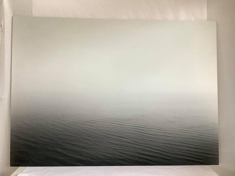 Zwart-witfoto van de zee op een metalen plaat