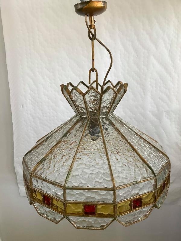 Zware glazen art-decohanglamp