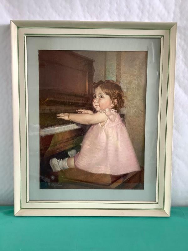 Tekening A. De Geest: meisje aan de piano