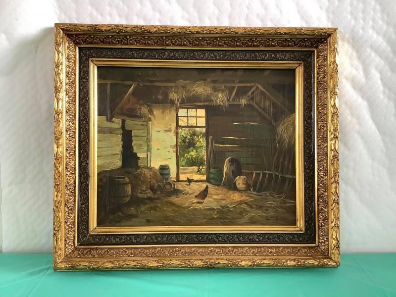 Oud schilderij van kippen in een schuur