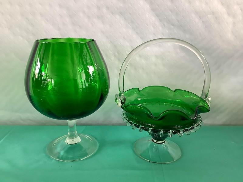 Groene Murano schaal en vaas