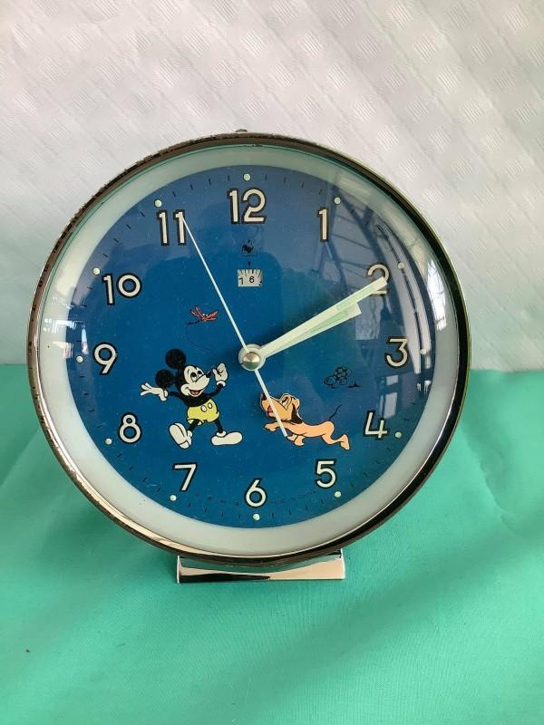 Vintage Walt Disney wekker met Mickey Mouse en Pluto