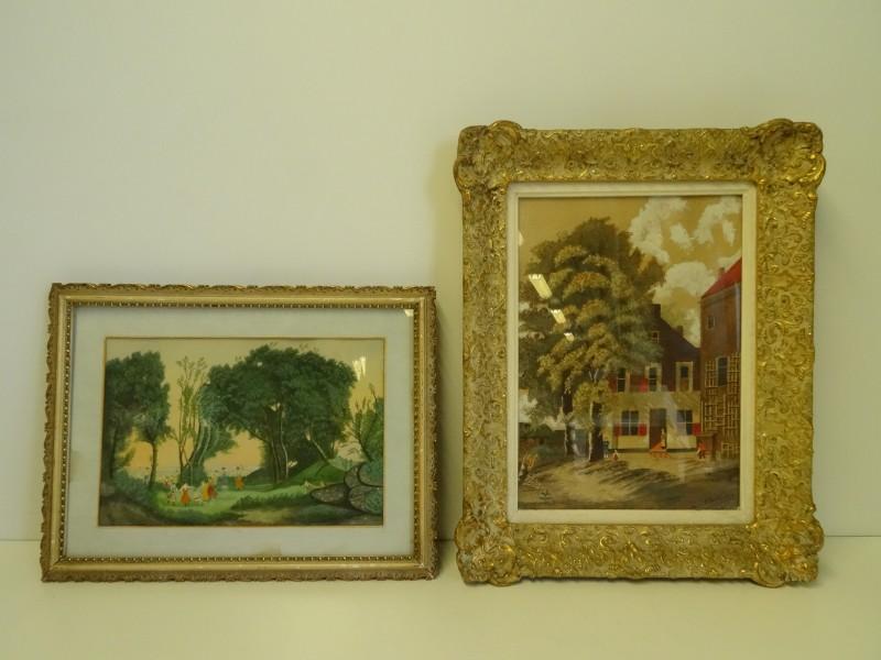 2 schilderijen, één gesigneerd Van Steenkiste
