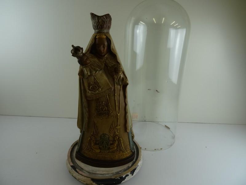 """Mariabeeld """" O.L.V. van Steps """" onder zeer oude stolp"""