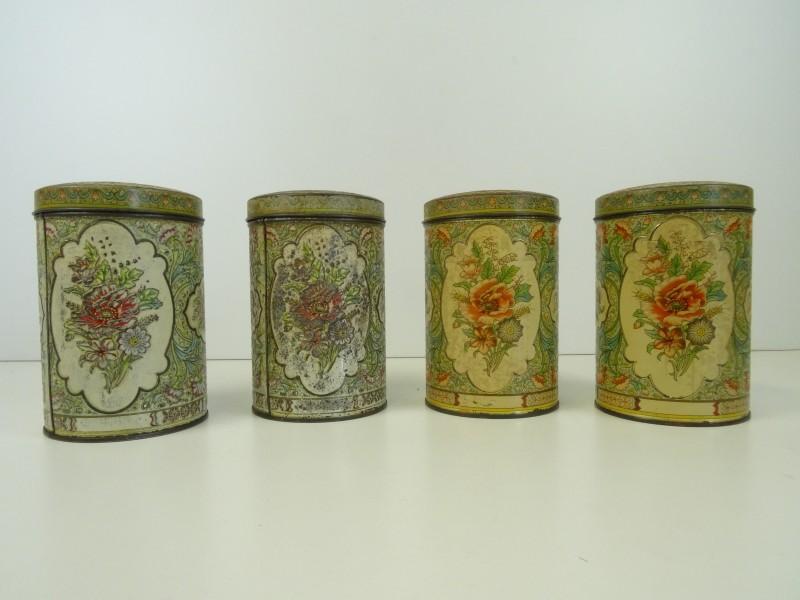 Vintage oude opberg potten met deksel