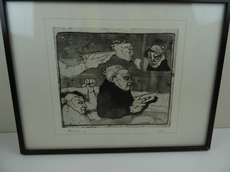 André Maris: gesigneerde litho  oude vrouw 1979