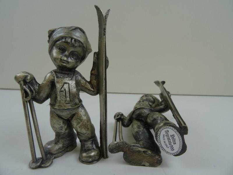 beeldjes Tin Skieër - made in Italy