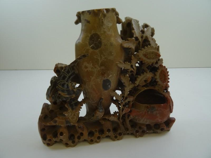 Antiek Chinees speksteen vaas - centerpiece
