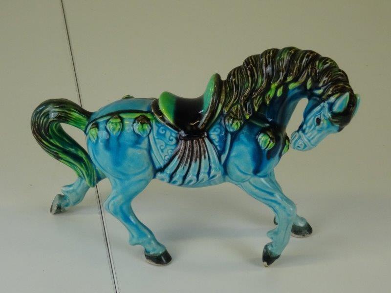 chinees blauw paard majolica