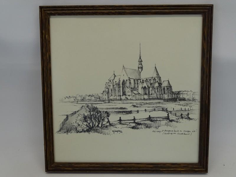 Getekende Prent: Fe Schuyten, Zuidkant St-Dimphna Kerk