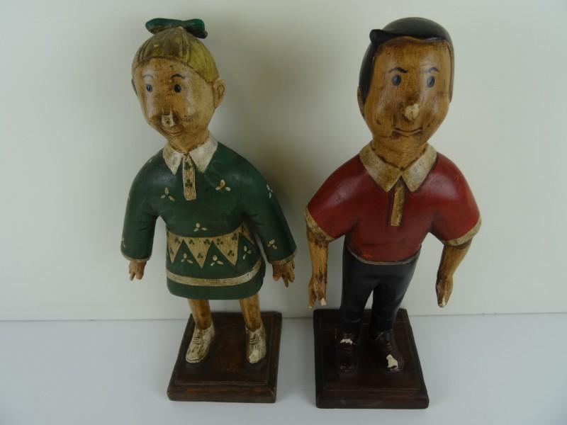 2 charmante  houten poppen van Suske en Wiske