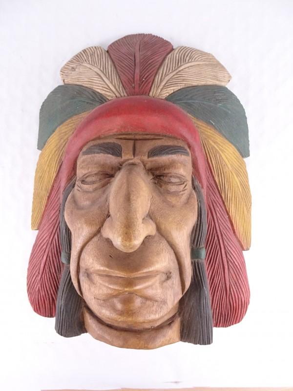 Prachtig Indianenhoofd uit hout.
