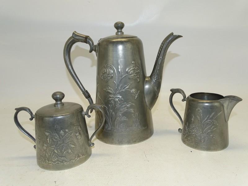 Art Nouveau Koffie / Thee Set: Gerhardi & Co, Tin