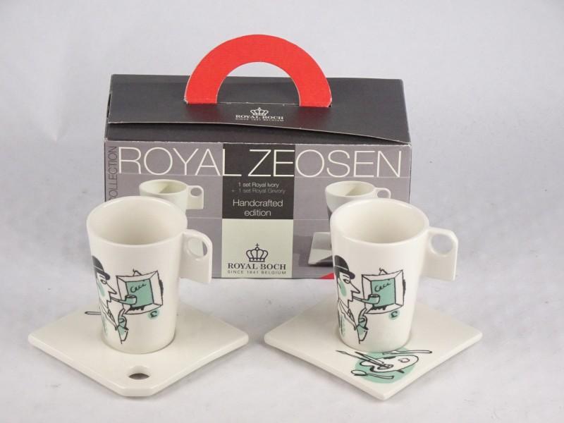2x Royal Boch koffietassen ontworpen door Ever Meulen (Humo).