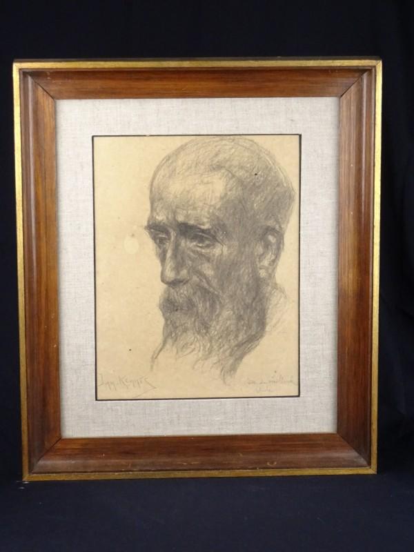 """Jan Kennis """"Zelfportret"""" jaren '60. Houtskool op papier. Gesigneerd."""