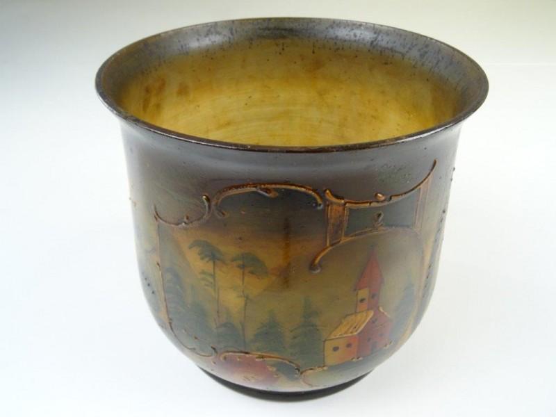 vintage geëmailleerde vaas voor planten